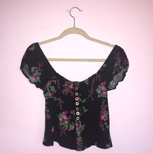 Free People Close to You Floral Black Combo Blouse